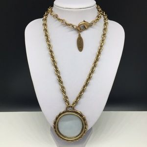 Chico's Gold Tone Chain Necklace Magnifying Glass